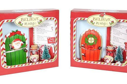 CHRISTMAS SANTA DOOR WISH KIT POLYRESIN , TREE, SANTA STOP HERE SIGN & LETTER