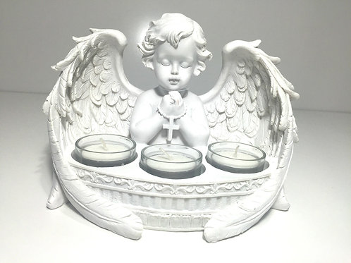 21CM PRAYING CHERUB WITH 3 TEALIGHT HOLDER EXQUISITE DETAIL