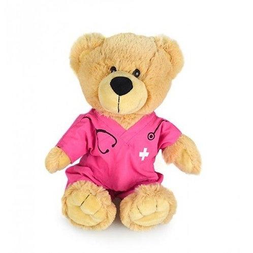 KORIMCO BUDDY BEAR IN PINK SCRUFFS BNWT 28CM GET WELL , GIFT, PRESENT