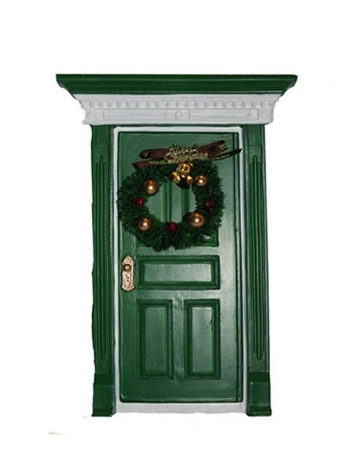 FAIRY GREEN DOOR WITH CHRISTMAS WREATH  BOXED