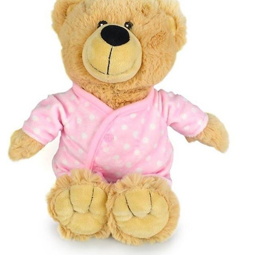 KORIMCO BUDDY BEAR IN A PINK BODYSUIT BNWT 28CM NURSERY COLLECTION
