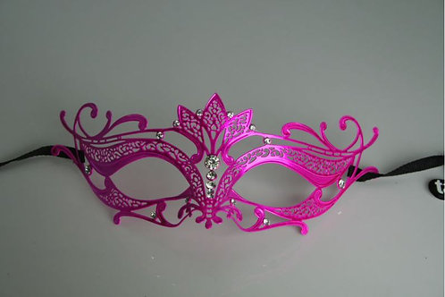VENETIAN STYLE ADULT HOT PINK METAL MASK WITH DIAMANTES