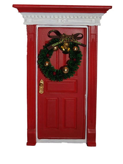 FAIRY RED DOOR WITH CHRISTMAS WREATH  BOXED 20CMS