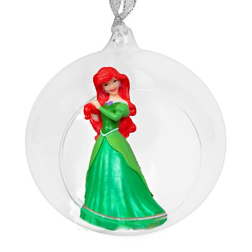 DISNEY PRINCESS GLASS CHRISTMAS TREE BAUBLE WITH ARIEL THE LITTLE MERMAID BOXED