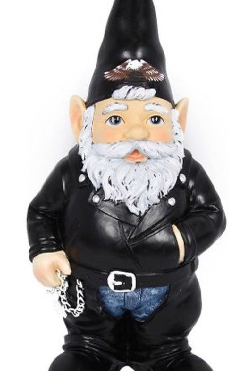 BIKER GNOME OLD MAN GNOME WITH BEARD NOVELTY GNOME 35CM