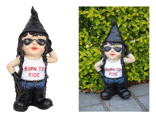 BIKER CHICK BORN TO RIDE GNOME 33CM