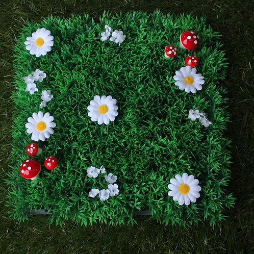 FAIRY GRASS FEATURES WHITE FLOWERS AND RED TOAD STOOLS FAIRY DOOR ACCESSORY