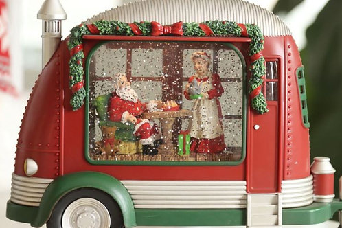 CHRISTMAS LIGHT UP CARAVAN  WITH SANTA AND MRS CLAUS  WATER SPINNER WATERBALL