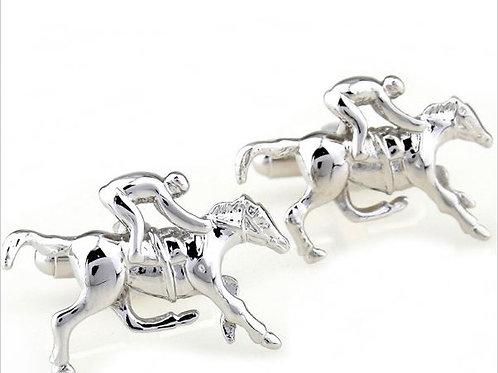 SILVER PLATED HORSE AND JOCKEY HORSE RACING CUFFLINKS