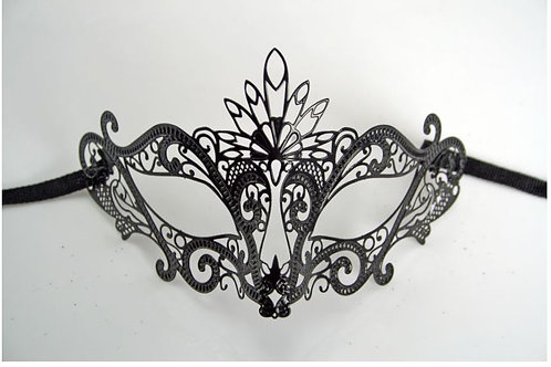 VENETIAN STYLE ADULT BLACK METAL MASK INTRICATE DESIGN