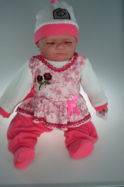 REALISTIC SLEEPING BABY DOLL MOLLY IN BODY SUIT AND BEANIE 51CM