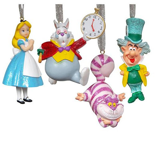 DISNEY ALICE IN WONDERLAND CHRISTMAS TREE HANGING ORNAMENT WITH SILVER RIBBON