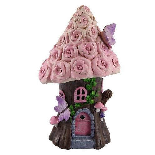 FAIRY GARDEN ROSE FAIRY HOUSE PINK WINDOWS BUTTERFLIES AND MUSHROOMS 19CM