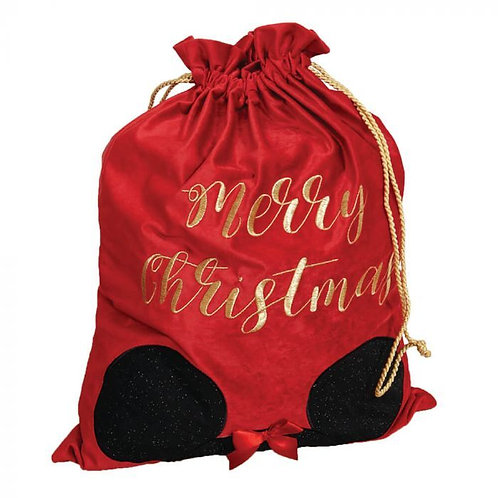 DISNEY MINNIE MOUSE CHRISTMAS RED VELVET GIFT SACK  WITH MINNIE EARS WIDDOP & CO