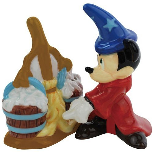 DISNEY MICKEY AND BROOM FANTASIA SALT AND PEPPER MAGNETIC SHAKERS