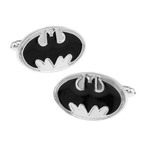 BATMAN BLACK ENAMEL SYMBOL SILVER NOVELTY CUFFLINKS