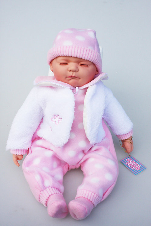 REALISTIC SLEEPING BABY DOLL MIRA IN BODY SUIT AND BEANIE 51CM