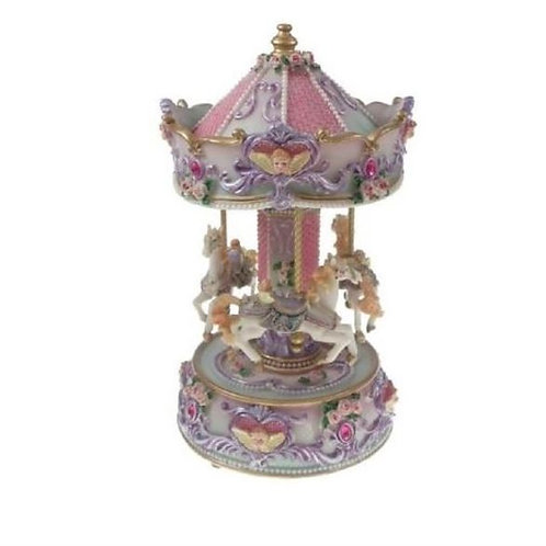 """GLOSSY MUSICAL CAROUSEL 26CMS/ 10"""" PLAYS """"BACHAROLLE """"GIFT PRESENT"""