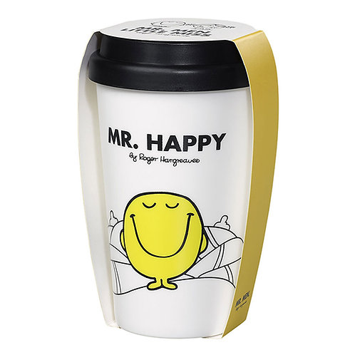 MR HAPPY DOUBLE WALL TRAVEL MUG 414ML WITH SILICON LID