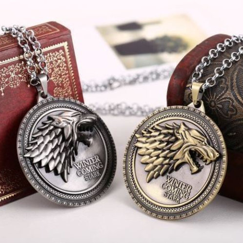 GAME OF THRONES HOUSE STARK NECKLACE WINTER IS COMING WOLF HEAD METAL