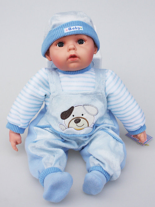 f REALISTIC WIDE AWAKE BABY DOLL JOSH IN BODY SUIT AND BEANIE 51CM