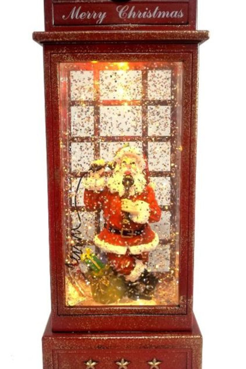 RED TELEPHONE BOX CHRISTMAS LANTERN SANTA ON THE PHONE LIGHT UP WITH GLITTER