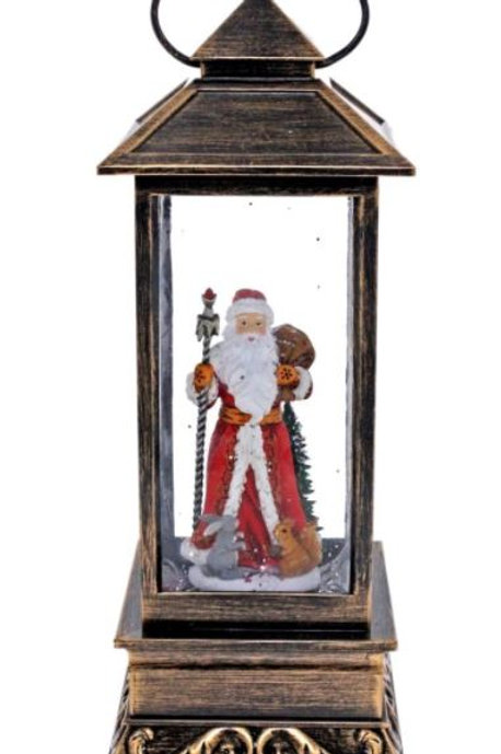 COTTON CANDY BRASS CHRISTMAS LANTERN WITH SANTA LIGHT UP LED WITH GLITTER