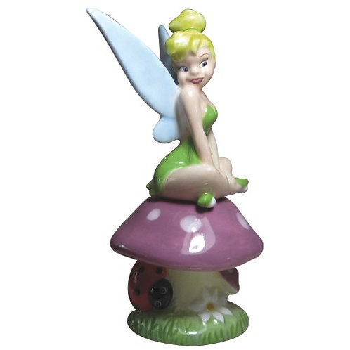 DISNEY TINKERBELL ON A MUSHROOM SALT AND PEPPER MAGNETIC SHAKERS