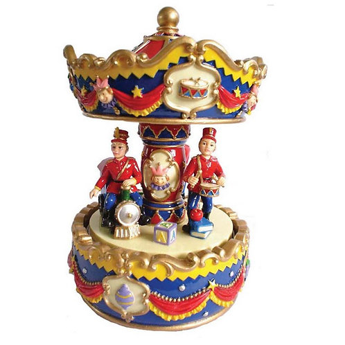 RED AND BLUE SOLDIER MUSICAL CAROUSEL 17 CM APPROX 7 INCHES GIFT PRESENT