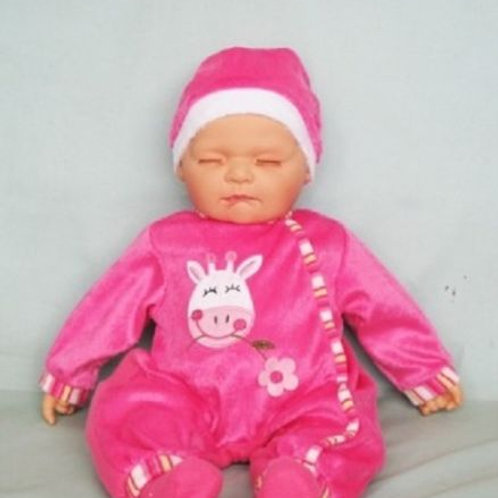 REALISTIC SLEEPING BABY DOLL AVA IN BODY SUIT AND BEANIE 51CM