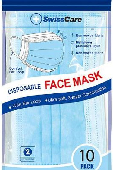 10 PACK 3PLY PROTECTIVE DISPOSABLE EARLOOP FACE MASK COMFORTABLE EASY BREATHE