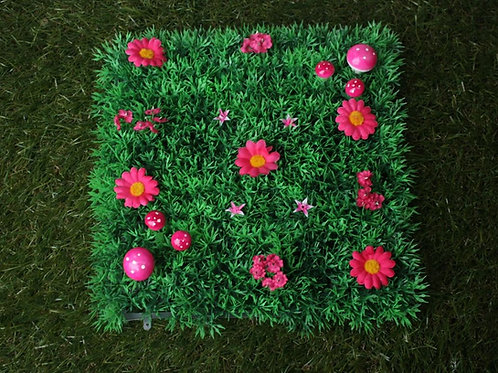 FAIRY GRASS FEATURES PINK FLOWERS AND TOAD STOOLS FAIRY DOOR ACCESSORY