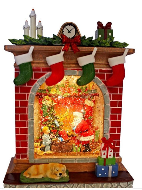 CHRISTMAS LIGHT UP FIREPLACE WITH SANTA  CHILD AND TEDDY BEAR STOCKINGS HANGING