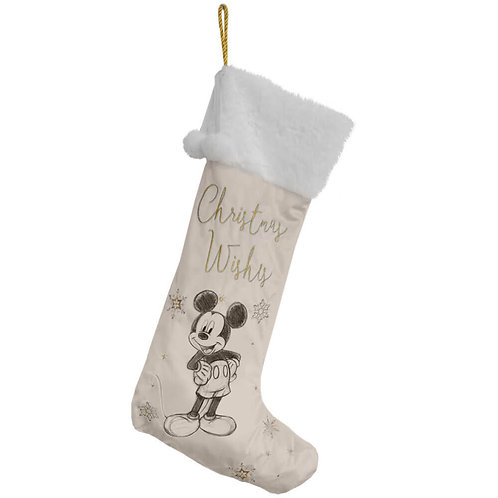 DISNEY MICKEY MOUSE CHRISTMAS VELVET STOCKING 62CM FROM WIDDOP AND CO