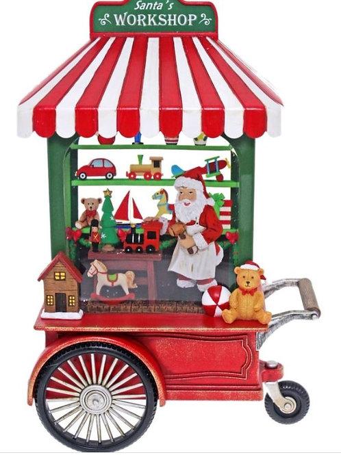 CHRISTMAS SANTAS WORKSHOP STREET CART LIGHTS UP WATER SPINNER
