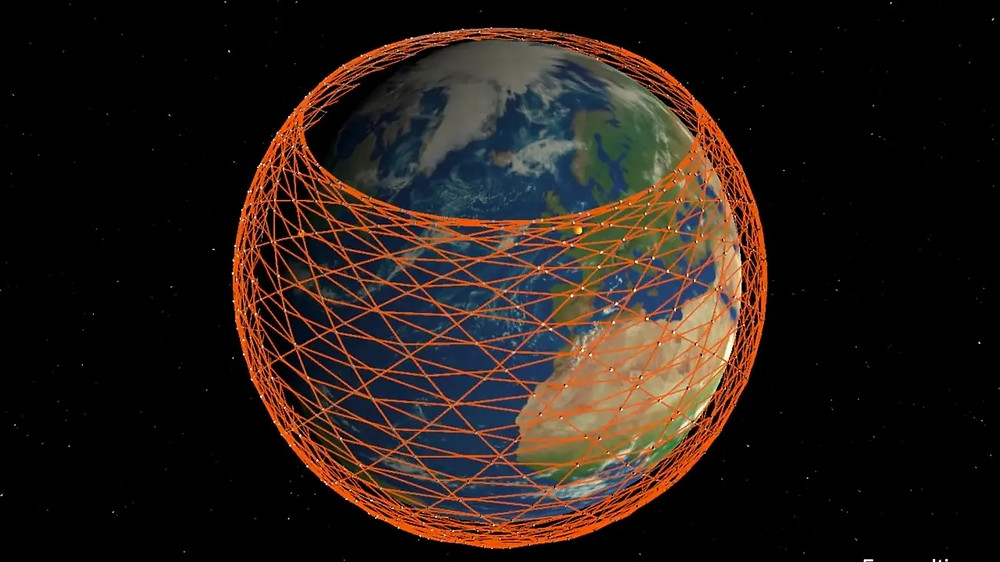 Ilustração da constelação de satélites da SpaceX. Fonte da imagem: http://tiny.cc/90chqz