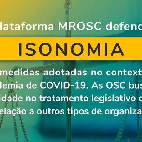 Plataforma MROSC pede inclusão das OSC em medidas emergenciais