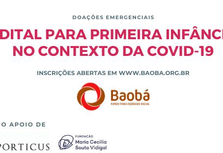 Fundo Baobá lança edital para primeira infância no contexto da pandemia