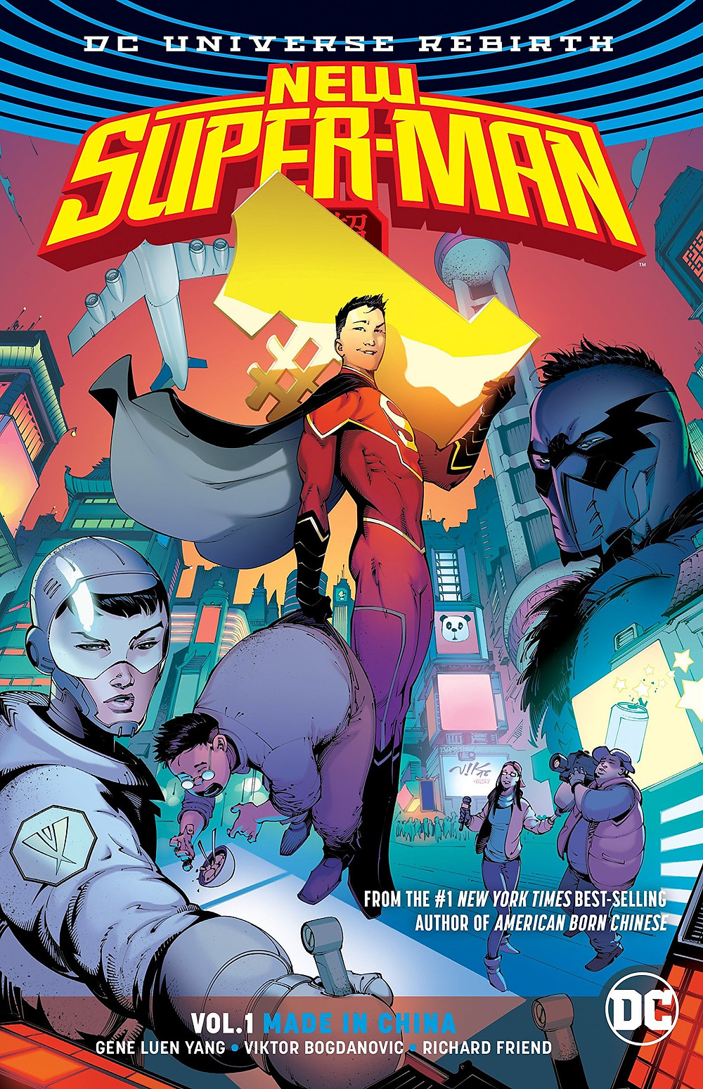 New Super-Man floats in front a futuristic building. He holds a bad guy by the waistband.
