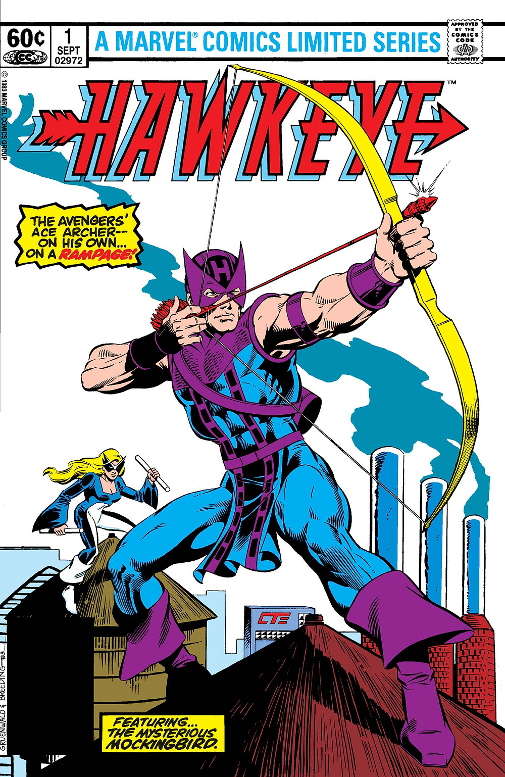 Cover for Hawkeye Issue 1 writing and art by Mark Gruenwald.
