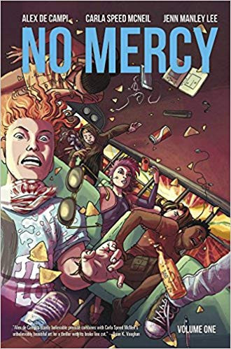 Cover of No Mercy Volume 1 written by Alex de Campi and illustrated by Carla Speed McNeil and Jenn Manley Lee