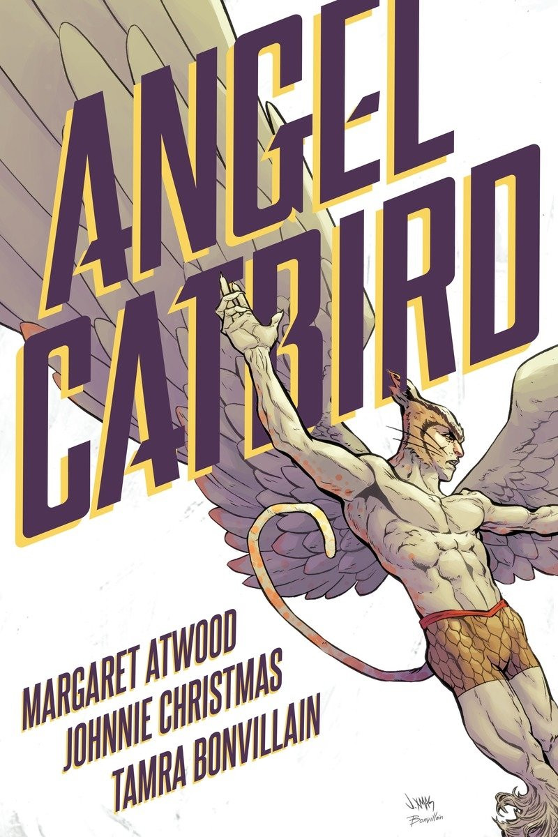 A muscular man with eagle's wings and a cat's tail and whiskers comes down from the sky to land.