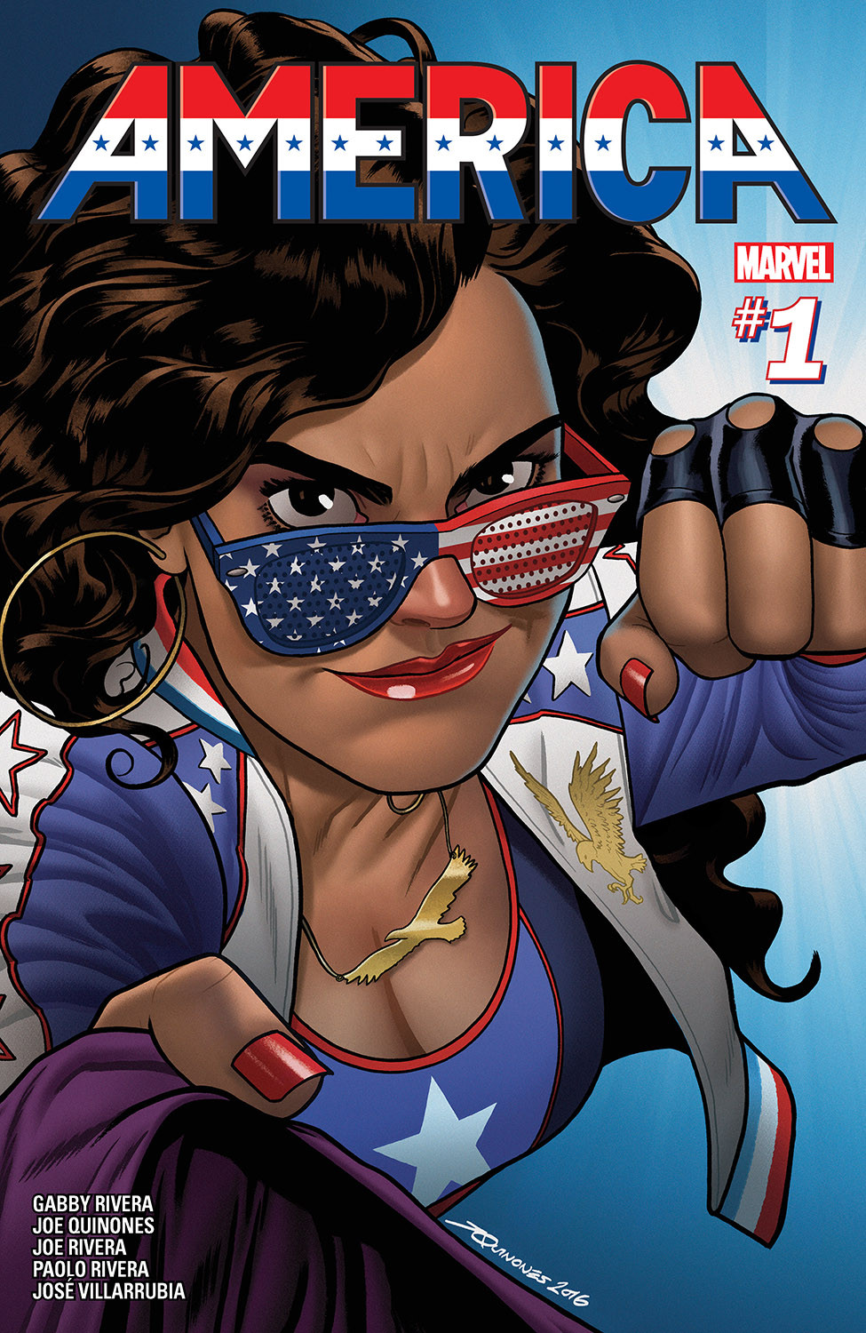 A Latinx woman, America Chavez, holds the jacket collar of an unseen individual with one hand and raises her other fist to punch the unseen individual. She faces the viewer so it appears that she is going to punch the viewer. She wears American Flag sunglasses as well as a tank top and jacket that are red, white, and blue and feature stars and golden eagles.