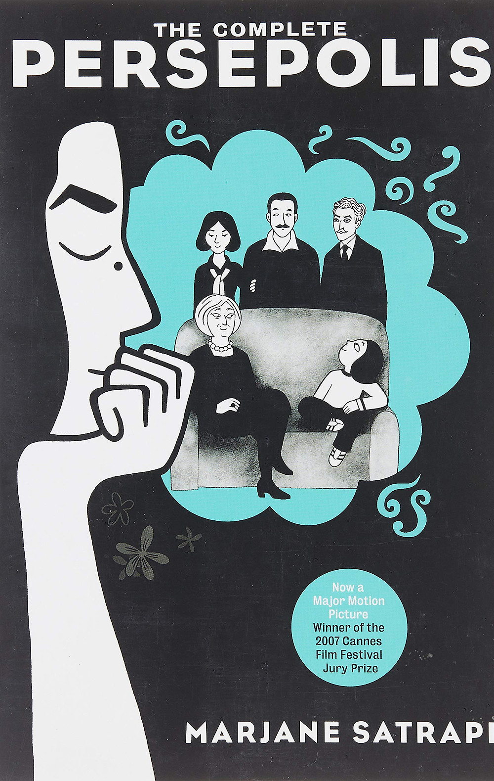 The cover of The Complete Persepolis featuring a woman's profile on the left side. She faces a blue thought bubble. A family portrait appears in the bubble with a woman and two men standing behind a couch on which sit an elderly woman and a young girl.