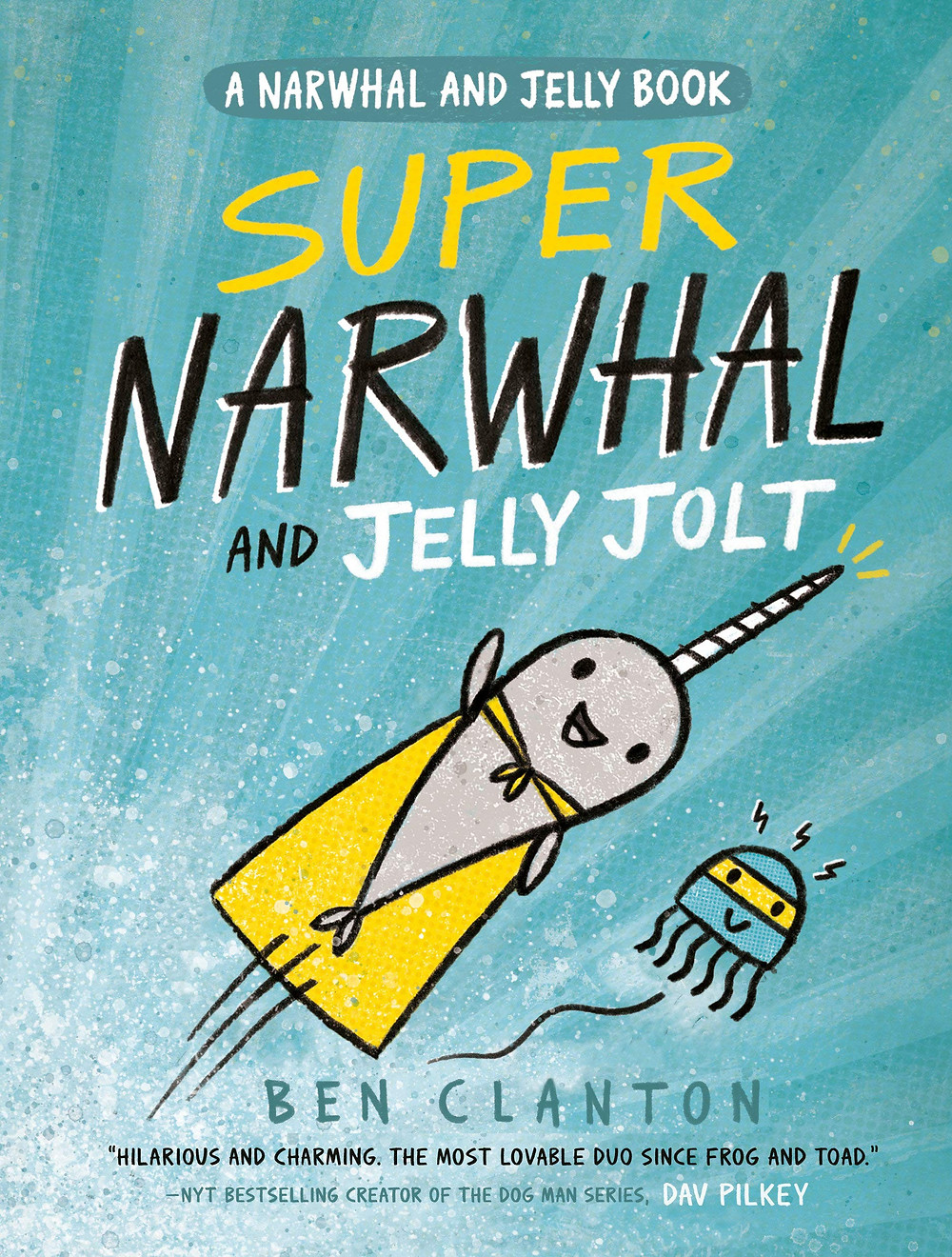 A narwhal swims through the sea wearing a yellow cape. Beside the narwhal, a jelly fish swims wearing a yellow mask.
