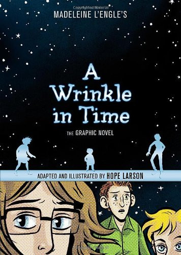 A teen girl with glasses, a young boy with glasses, and a teen boy with freckles look at the reader. Behind them is a sky filled with starts.