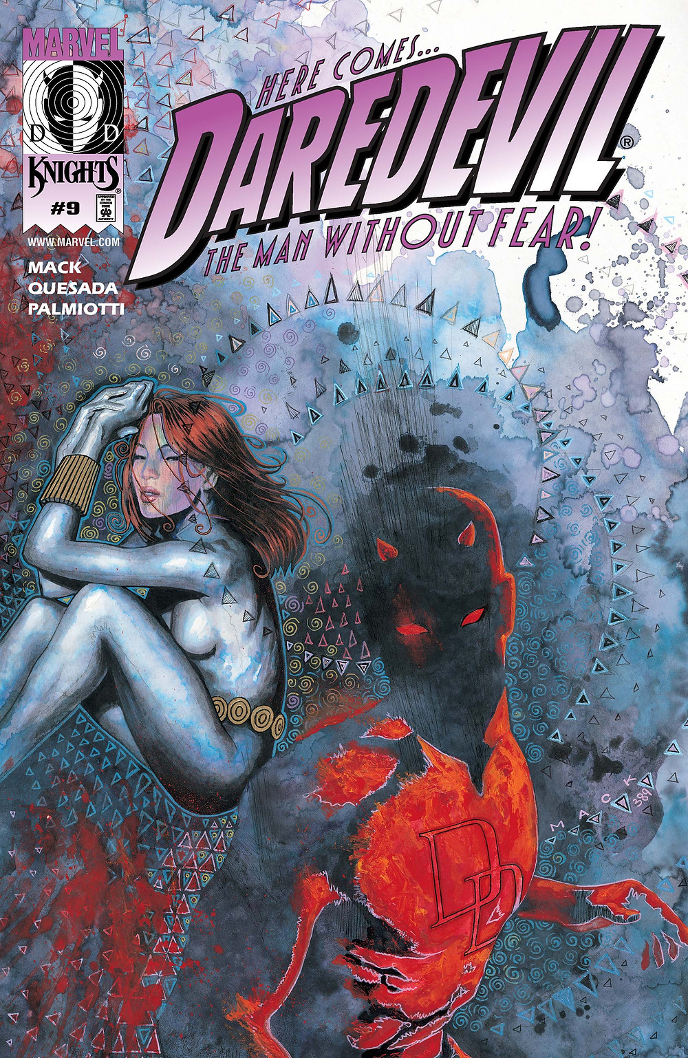 Cover of Daredevil Issue 9 (1999) written by David Mack, penciled by Joe Quesada, and inked by Jimmy Palmiotti.