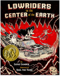 On the cover of Lowriders to the Center of the Earth, a lowrider car with a spaceship rocket fuel propulsion drives through a cave underground. A female dog-unicorn drives the car while squid sits in the passenger seat and a grasp hopper flies alongside.