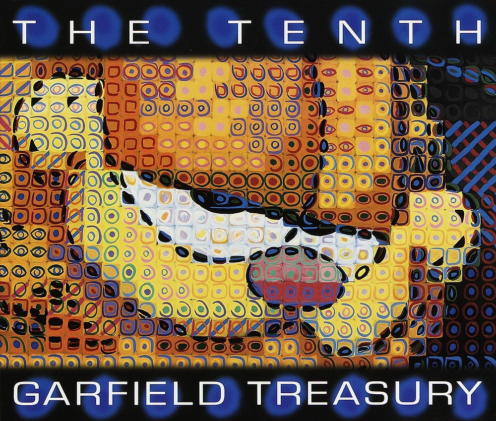 Cover of The Tenth Garfield Treasury, a comic strip collection, featuring the face of Garfield the cat.