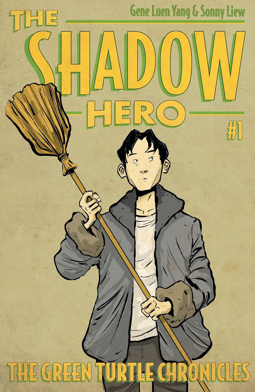 A Chinese boy stands in the center of the cover. He wears a white t-shirt and grey winter jacket. He holds a broom raised above his head.